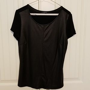Limited Size medium black tee with faux leather